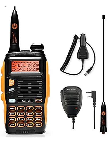 BaoFeng GT-3 Mark Two-Way Radio Walkie Talkie  Dual Band UHF VHF with 23CM High Gain Antenna Car Charger  Remote Speaker