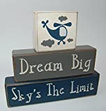 Primitive Country Wood Stacking Sign Blocks Airplane-Helicopter Decor-Dream Big Sky's The Limit Boys Nursery Room, Birthday Centerpiece, Baby Shower Gift Review