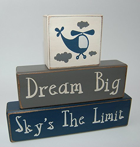Helicopter Block - Primitive Country Wood Stacking Sign Blocks Airplane-Helicopter Decor-Dream Big Sky's The Limit Boys Nursery Room, Birthday Centerpiece, Baby Shower Gift
