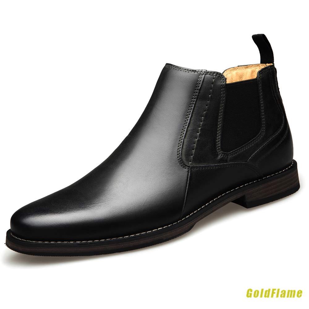チェルシーブーツ ショートブーツ メンズ 本革ブーツ ドレスシューズ サイドゴア ハイカット シンプル 防水 イギリス風 オフィス フォーマル 28cm ブラック ブルアン B07KWW33TN 25.5 cm|ブラック ブラック 25.5 cm