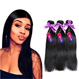 Mornice Hair 8A Grade 3 Bundles 300G 100% Unprocessed Brazilian Remy Virgin Hair Weft Weave Real Silky Straight Human Hair Extensions Natural Black (8'8'8')