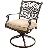 Hanover TRADITIONS3PCSW Traditions 3-Piece Aluminum Rust-Free Outdoor Patio Bistro Set with 2 Swivel Rocker Chairs, Tan Cushions and Cast-Top Round Table