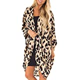 WUAI Womens Leopard Print Long Sleeves Fluffy Soft Open Front Cardigans Beach Cover Up(Yellow,Small)