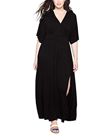 250f16272a CNFIO Women Party Maxi Dress Solid V-Neck Short Sleeve Plus Size Evening  Kimono Dresses