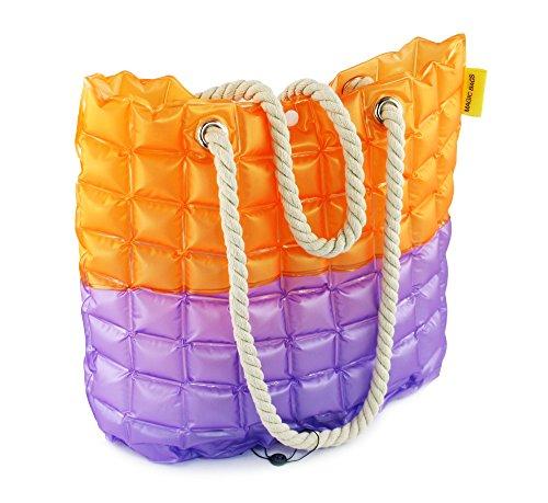 Femme Orange De Éclair Shopping Plage Avec Fermeture Main Sac Bandoulière violet Piscine Grand À Voyage Shopper 4wqAxpU7p