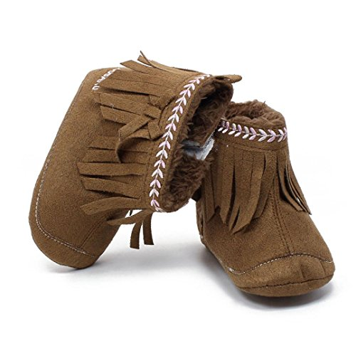Jamicy® Kleinkind Mädchen Winter Schuhe Mode weiche Sohle Prewalker Quaste Winterstiefel Kaffee