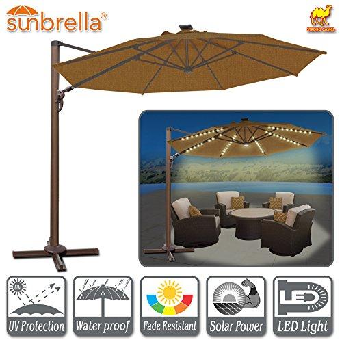 Strong Camel 11.5' Deluxe Cantilever Big Roma Umbrella Hanging Offset Solar Umbrella UV50+ Tilt & 360'C Rotation Patio Heavyduty Outdoor Sunshade Cantilever Crank SUNBRELLA Cover (Teak Sunbrella Shade)