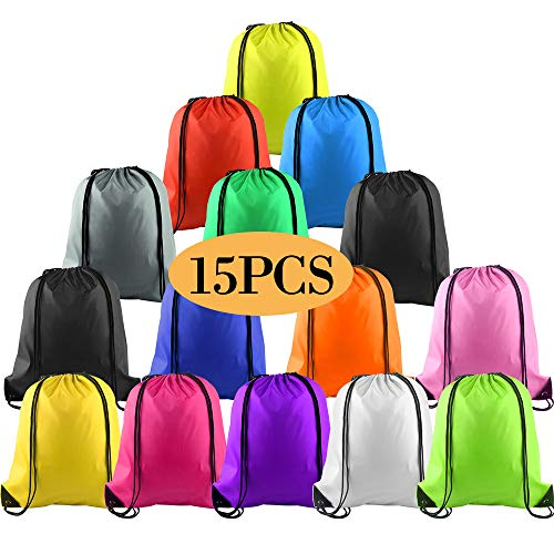 KUUQA 15Pcs Multicolor Drawstring Backpack Bags Sports Cinch Sack String Backpack Storage Bags for Gym Traveling (Colorful 15pcs)]()