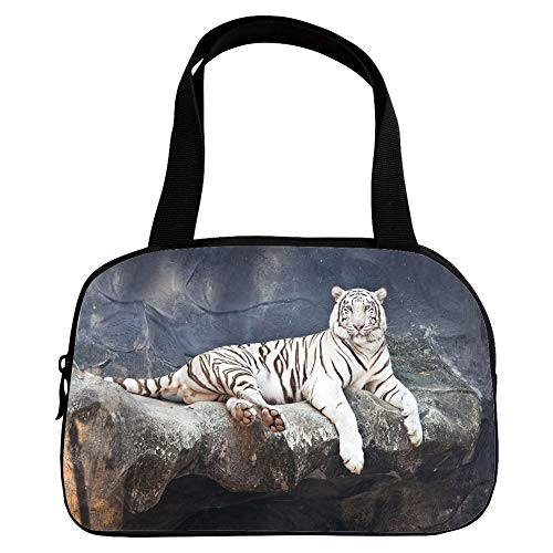 Strong Durability Small Handbag Pink,Tiger,Albino Cat Sitting on Rock Sublime Nature Marvelous Animals Endangered Species,Slate Blue White,for Students,3D Print Design.6.3