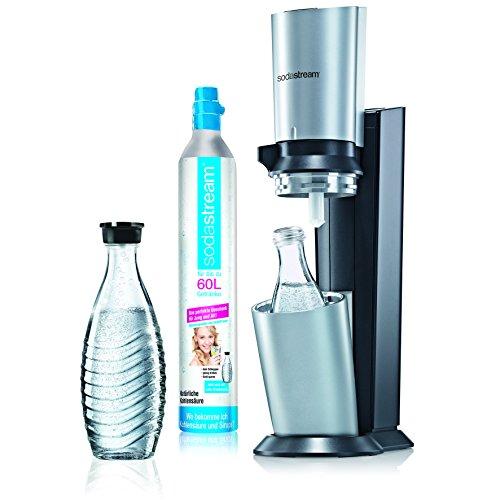 SodaStream Wassersprudler Crystal  (mit 1 x CO2-Zylinder 60L und 2 x 0,6L Glaskaraffen) Titan/Silber