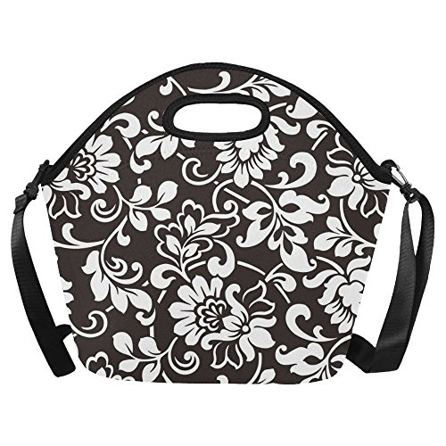 InterestPrint Black and White Damask Insulated Lunch Tote Bag Reusable Neoprene Cooler 15.04