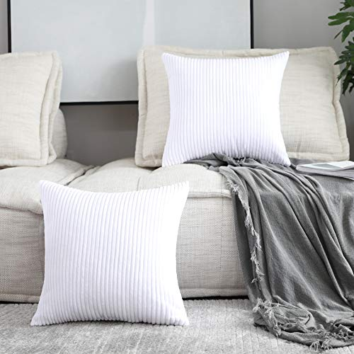 Home Brilliant Decorative Pillow Covers Decor Supersoft Striped Velvet Throw Toss Pillowcase Cushion Cover for Chair, Pure White, (45x45 cm, 18inch), 2 Pieces