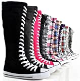 Search : Canvas Sneakers Ladies Flat Tall Punk Womens Skate Shoes Lace up Knee High Boots