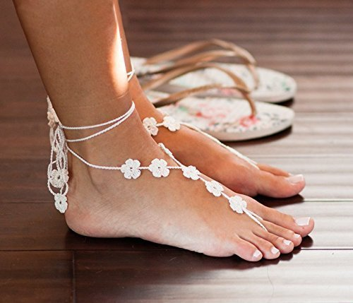 Flower Barefoot Sandals in Ivory, Beach Wedding Foot Jewelry, Beach (Shoes Anklet)