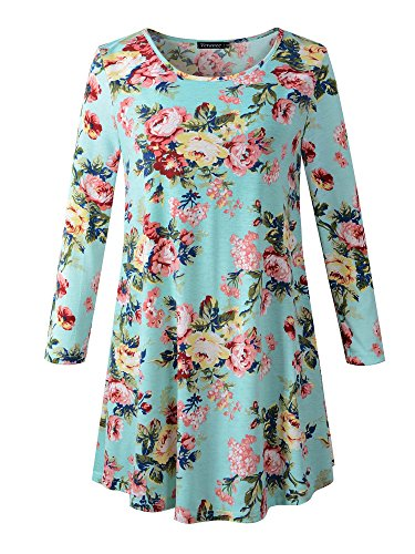 Veranee Women's Plus Size Swing Tunic Top 3/4 Sleeve Floral Flare T-Shirt X-Large 16-2