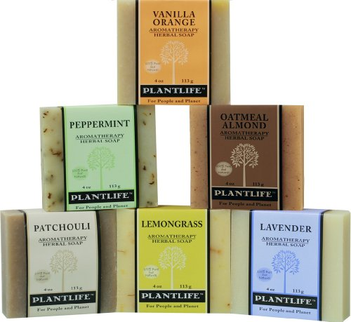 Plantlife Top 6 Natural Aromatherapy Herbal Soaps Made with 100% Pure Essential Oil