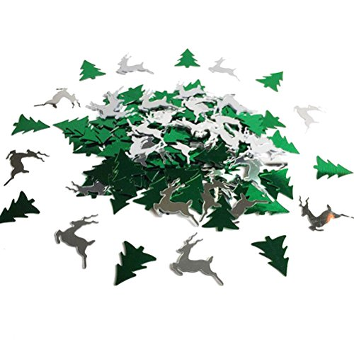 Tinksky Christmas Tree and Elk Shaped Merry Christmas Table Confetti Christmas Decoration (Green Silver)