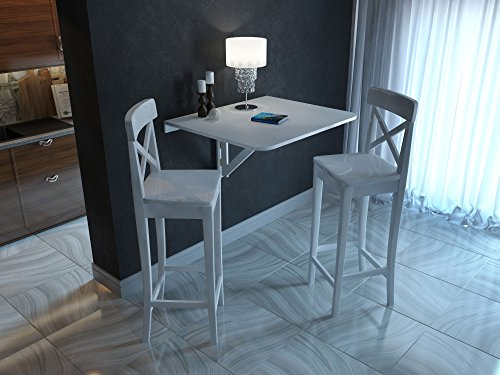 Browse prices for large wall mount drop leaf folding table white solid wood 36 x 30 inches - Wall mounted drop leaf table white ...