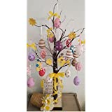Jaymark Products Easter Tree With Lights - Brown Bark 70cm Table Top Twig Tree - Pre-Lit with 24 LEDS Includes Complimentary Decorations