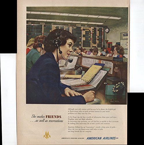 American Airlines Americas Leading Airline Reservations Agent She Makes Friends As Well As Reservations 1950 Vintage Antique Advertisement