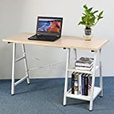 Azadx Computer Writing Study Desk, Concise Modern Vintage Laptop Table Trestle PC Wood Home Office Desk Square Table for Reading with 2 Open Tiers Shelves Armoire (White)