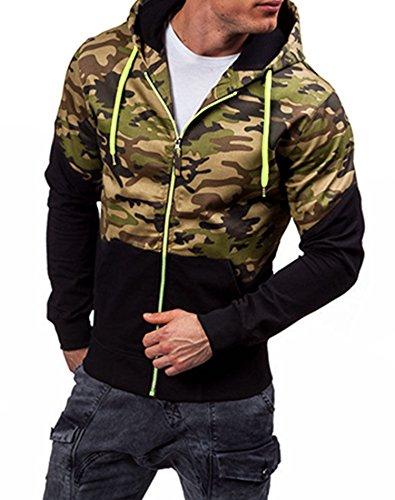 Modfine Men's Long Sleeve Hoodie Zip Up Fleece Camouflage Sweatshirt Jacket Coat(Green,Small) (Camouflage Fleece Pullover)