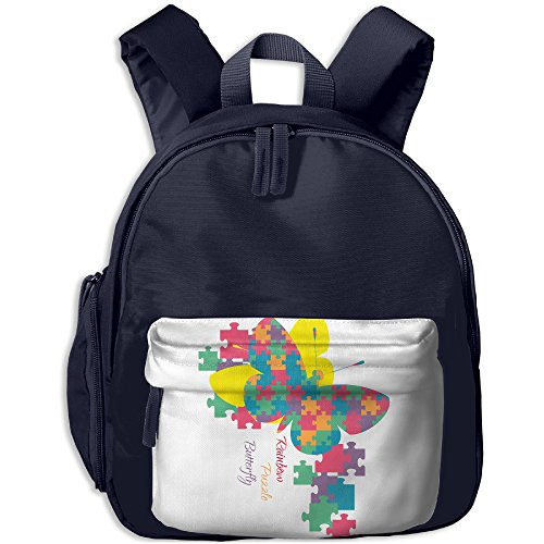 Baby Toddler Kids Print Backpack Autism Awareness Rainbow Puzzle Butterfly Son Class Gift New JOYLIAN (Autism Backpack)