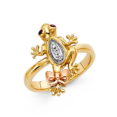 Solid 14k Yellow White Rose Gold Frog Ring CZ Toad Band Bow Tie Good Luck & Money Tri Color, Size (14k Solid Yellow Gold Frog)