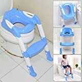 PiggiesC Blue Foldable Kid Children Babies Toddlers Toilet Potty Trainer Seat With Ladder