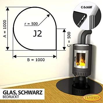 Kamin Funkenschutz Glas Bodenplatte Sechseck 500 mm x 1000 mm