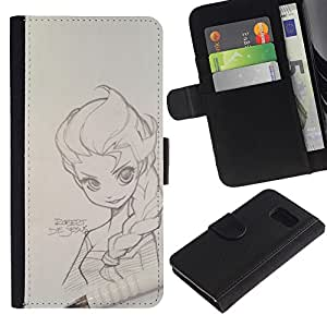 Billetera de Cuero Caso Titular de la tarjeta Carcasa Funda para Samsung Galaxy S6 SM-G920 / pencil magna sketch drawing art girl / STRONG