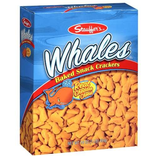 Stauffer's Whales Baked Snack Crackers with Real Cheddar Cheese 7.0 (4 Boxes)
