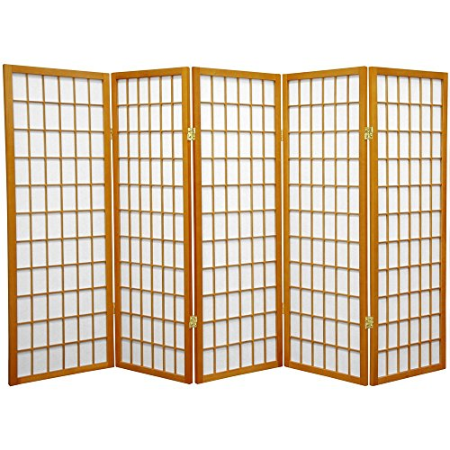 ORIENTAL FURNITURE 4 ft. Tall Window Pane Shoji Screen - Honey - 5 Panels