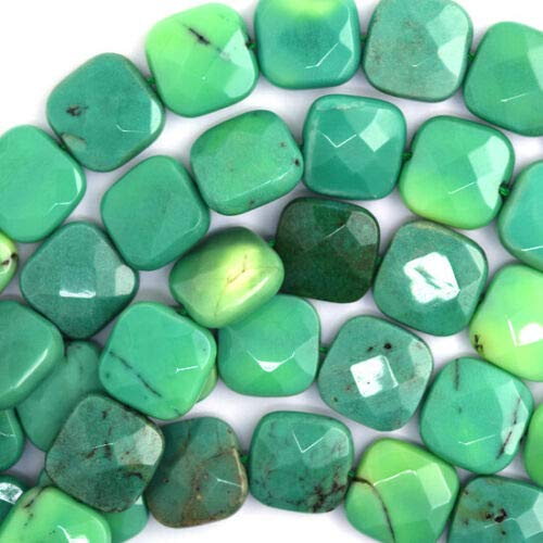 """15mm Faceted Green Chrysoprase Flat Square Beads 16"""" Strand nbLG-1806"""