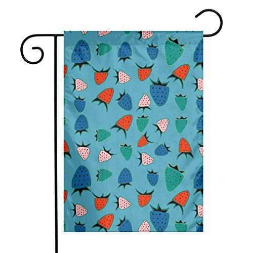 "Life shop Strawberry Blue Art Garden Flag Yard Flag 12"""" x 18"""" Home Decorative House Flag,Banners for Patio Lawn Outdoor"
