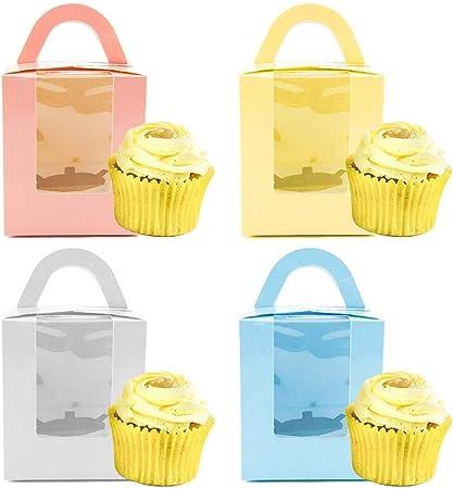 20 PCS Cajas de Cupcakes, Cajas para pasteles, Cajas de regalo para magdalenas, Cajas portátiles para magdalenas Contenedores con ventana y asa 9,5 cm x 9,5 cm x 11 cm: Amazon.es: Hogar