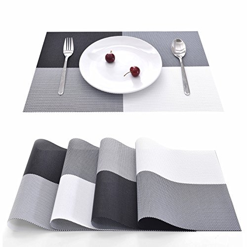 EJIAS PVC Placemats Table Mat – Set of 4 Classical Checked PVC Place Mats for Dining Room Washable PVC Table Mats for Kitchen Room Water Resistant Heat Resistant Mats 18X12 Inch (Black Check)