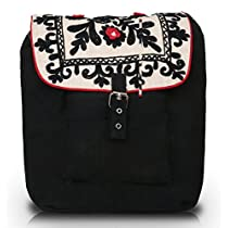 Pick Pocket black canvas backpack with floral embroidery on