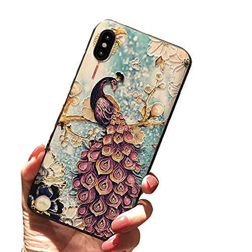for iPhone X Case 5.8 inch, TPU 3D Peacock Painted Robes Ancient Palace Embossed Phone Cover For iPhone X 5.8