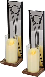 J JACKCUBE DESIGN Wall Candle Holder Sconces Set of 2 Hanging Floating Metal and Acrylic Mirror Wall Mounted Pillar Candleholders Décor with Glass Inserts, for Living, Dining Room, Fireplace - MK677A