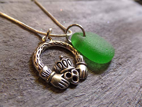 Claddagh Friendship Charm Necklace with Green Sea Glass from Scotland