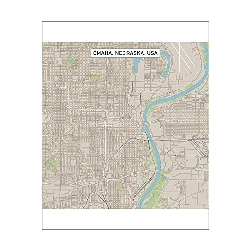 Media Storehouse 10x8 Print of Omaha Nebraska US City Street Map (15192908) ()