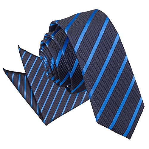 Hanky Microfibre Casual Pocket Men's Navy Premium Mid and Skinny Stripe DQT Necktie Business Thin Square Matching Various Tie Formal Woven Colours Set Blue Handkerchief Narrow with 5cm Single qRYxYEf