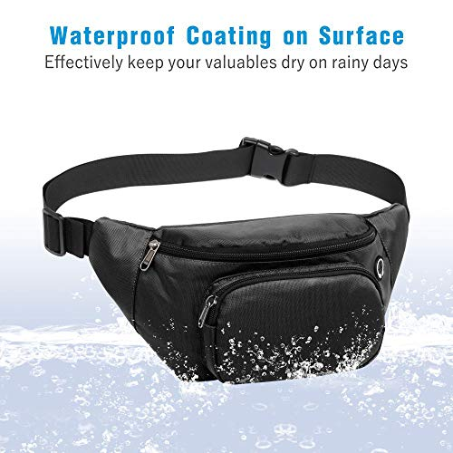 Packism Fanny Pack, 3 Pockets Waterproof Fanny Pack for Women Men, Sport Waist Pack Bag Travel Hiking Running Hip Bum Bag with Key Chain