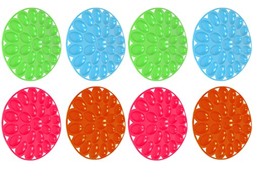 Includes 8 Deviled Egg 12'' Diameter Presence Serving Trays! Perfect for Any Party or Social Gathering! Includes Blue, Green, Magenta, and Orange! by Black Duck Brand