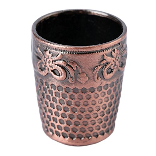 Metal Sewing Thimble Red Bronze, Leather Ring Thimble (1 Pack) Finger Protector, Sewing Thimble, Handmade