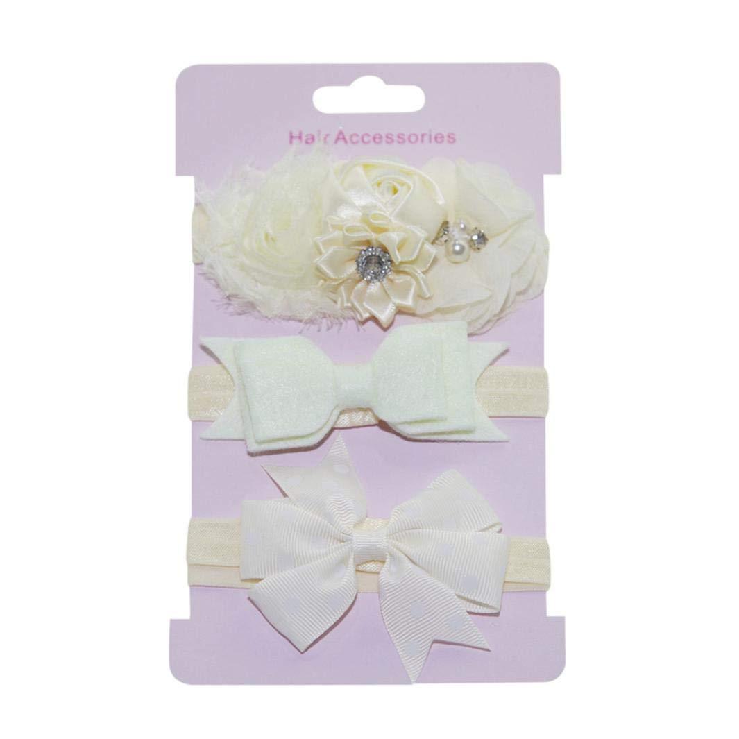 Jinjiums baby hairband,3Pcs Lovely Kids Elastic Floral Pearl Flowers Hair Girls Baby Bowknot Headband Set (Beige)