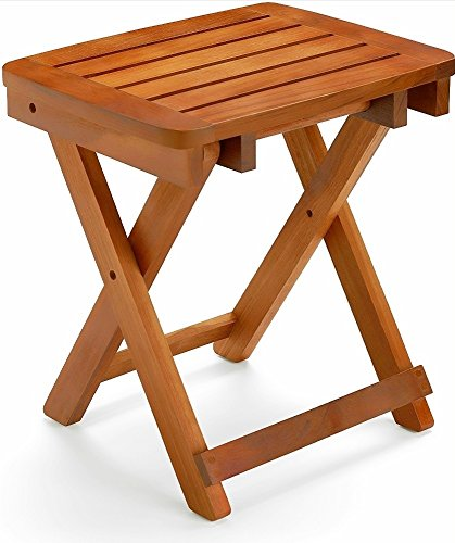 Welcare 100% Natural Bamboo Folding Stool Shower Bench Seat Fully Assembled (18 inehes Basic for Shower seat)