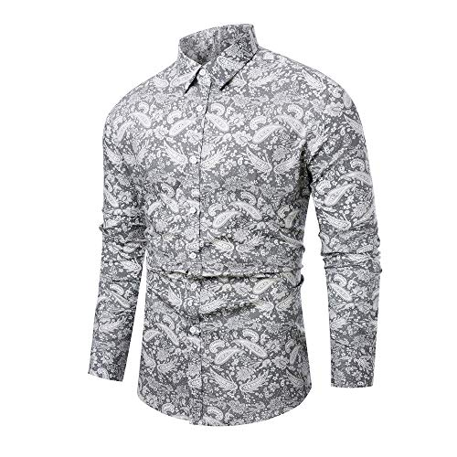 (WULFUL Men's Floral Printed Dress Shirt Paisley Causal Party Long Sleeve Button Down Shirts )