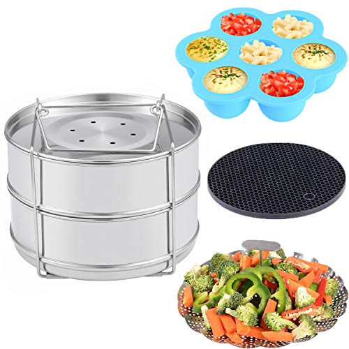 - KINDEN Pressure Cooker Accessories Instant Stackable Stainless Steel Insert Pans, Vegetable Basket, Silicone Egg Bites Molds, Silicone Pot Holder, 4 pcs/set for 5,6,8QT